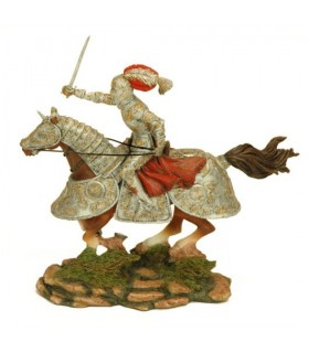Figura cavaleiro medieval a cavalo