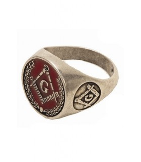 Esmalte vermelho anel maçônico