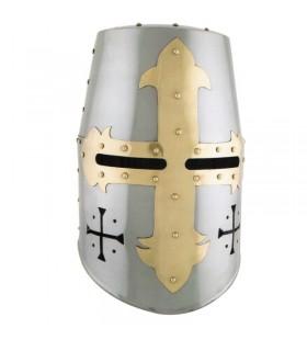 capacete Templar com cruz frontais e laterais