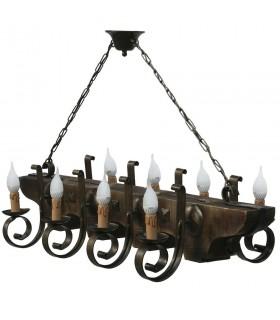 ferro forjado e lâmpada de madeira de 8 braços