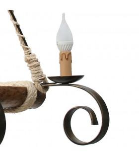 ferro e madeira forjado lâmpada de 4 braços