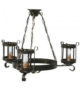 lâmpada de lanterna de ferro forjado, 3 armas