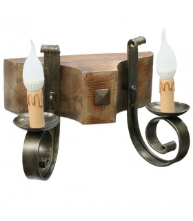 Aplicar madeira e ferro forjado, 2 lâmpadas