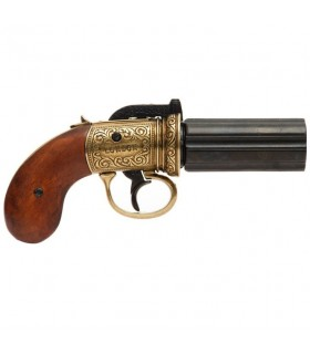 Pimentero revólver 6 armas, bronzeado