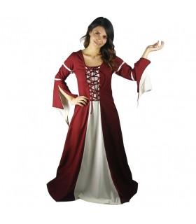 Mulher no vestido de festa medieval
