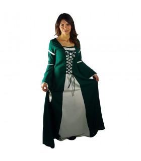 Mulher vestido medieval bicolor