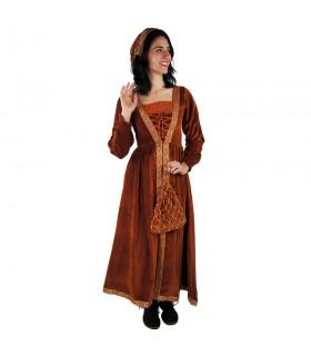 Mulher no vestido medieval Verde-Branco