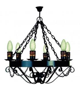Lâmpada forja cadeias, 6 lâmpadas