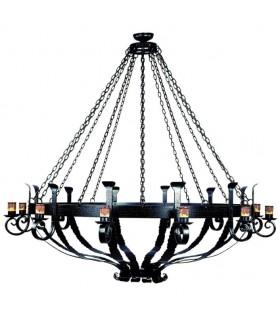 Lâmpada forjamento roda de madeira, 6 luzes