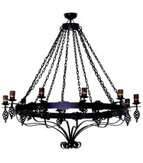 lâmpada de ferro forjado grandes cadeias, 12 luzes