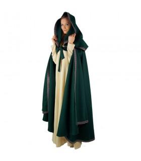 Mulher com capuz capa vermelha medieval