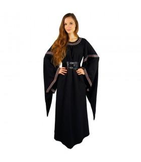 Mulher preta no vestido medieval-Vermelho