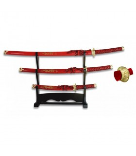 Katana, Wakizashi e Tanto vermelho com suporte preto lacado