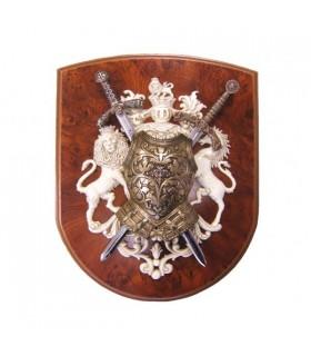 Lions panóplia armaduras e espadas
