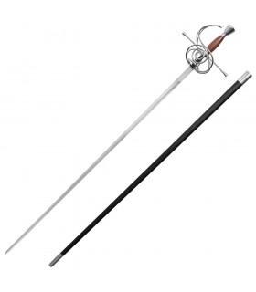 Rapier espada funcional, cabo de madeira