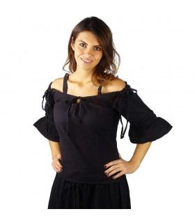 Blusa medieval preta com suspensórios