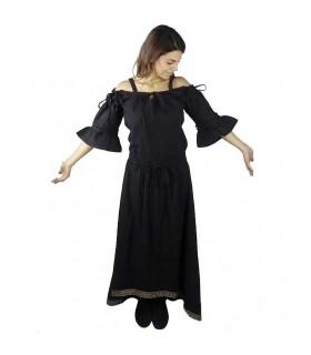 Blusa creme medieval com bordado