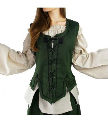 Colete medieval mulher verde