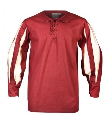 Camisa de Toennes Borgonha-creme