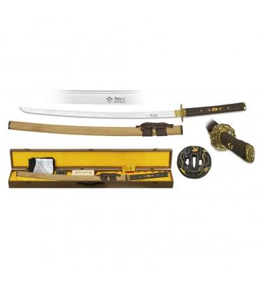 Lâmina de aço damasco Katana com estojo, estojo, kit de limpeza e tsubas