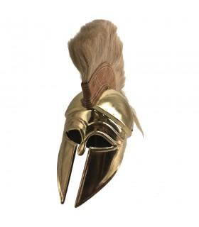 capacete Corinthian grega com ouro plume