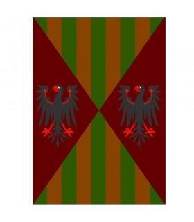 Águias e barras medievais da bandeira, vários tamanhos