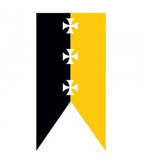 Bandeira medieval cruzes templários amarelo-preto