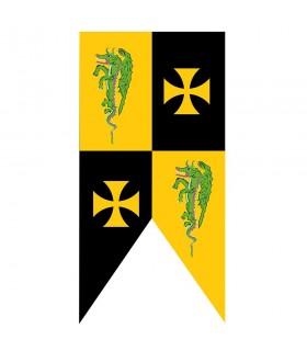 Templário padrão medieval cruza com dragões