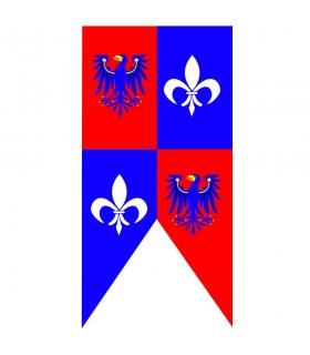 Águias de bandeira medieval com flor de lis