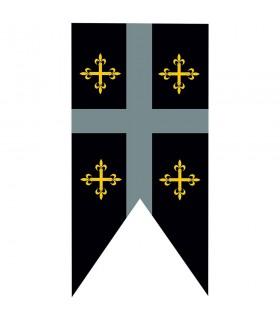 Estandarte medieval cuartelado cruces templarias