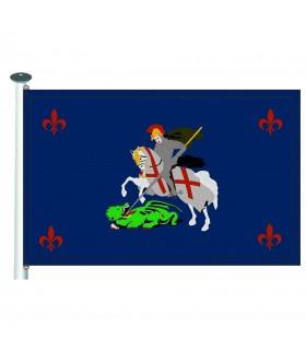 Bandera caballero medieval contra Dragón