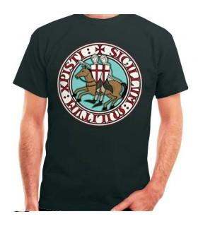 Camiseta Negra Caballeros Templarios, manga corta