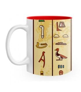 Taza Cerámica con jeroglíficos egipcios