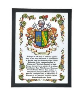 Caixa escudo heráldico 1 apelido (32,5x42,5 cms.)