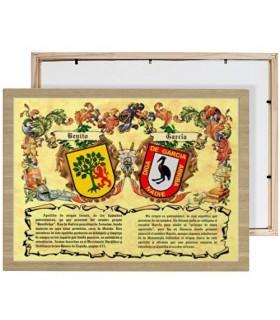 Caixa escudos heráldicos 2 sobrenomes (30x40 cms.)