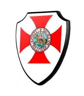 Escudo madera Cruz y Caballeros Templarios (19,2 x 23,4 cms.)
