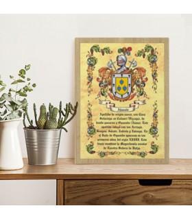 Caixa escudos heráldicos 1 apelido (30x40 cms.)