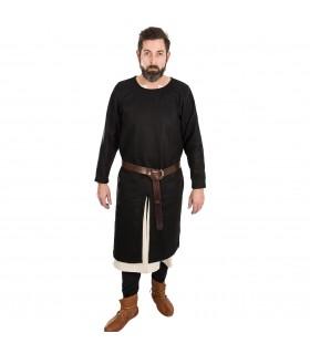 Túnica Medieval Everard preta manga longa