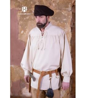 Camisa medieval laços Störtebecker, creme
