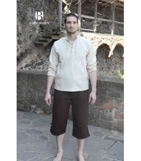 Camisa medieval laços Tristan, creme