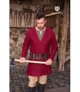 Túnica Medieval Loki vermelho manga longa