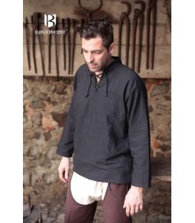Camisa medieval laços Tristan, preta