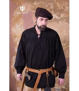 Camisa medieval laços Störtebecker, preta