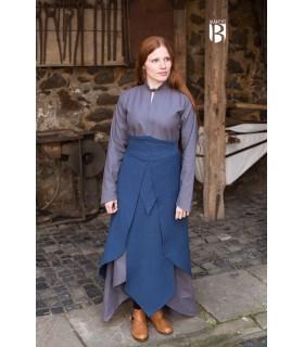 Saia medieval Tharya, algodão azul