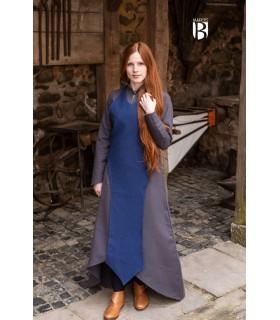 Avental medieval Isa, algodão azul