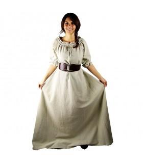Vestido medieval Karen, branco natural