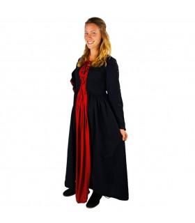 Vestido medieval Medusa, preto-vermelho