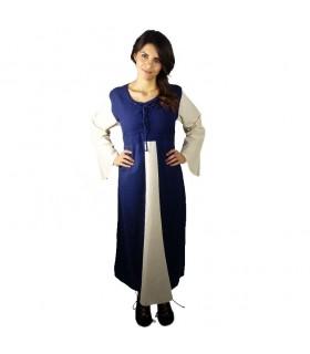 Vestido medieval algodão azul escuro