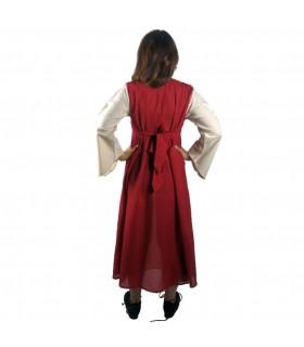 Vestido medieval algodão vermelho-creme