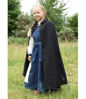 Camada medieval para crianças, preta